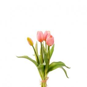 Selyemvirág Tulipán csokor műanyag 35cm rózsaszín
