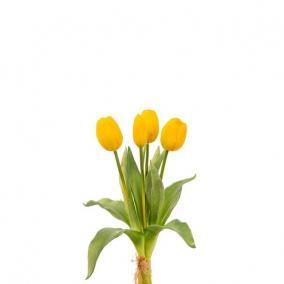 Selyemvirág Tulipán csokor műanyag 35cm sárga