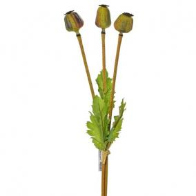 Selyemvirág mák csokor 3 szálas 45 cm barna,zöld