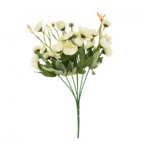 Selyemvirág rózsa csokor 30 cm fehér