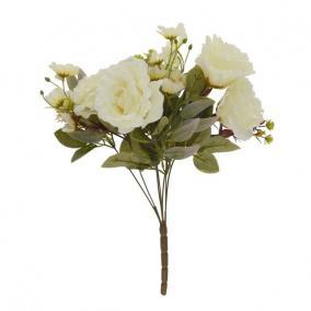 Selyemvirág vegyes csokor 7 szálas 45 cm krém