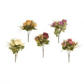 Selyemvirág vegyes csokor rózsával 7 szálas 45 cm 5 féle
