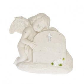 Sirkő angyallal poly 13x6x11cm fehér