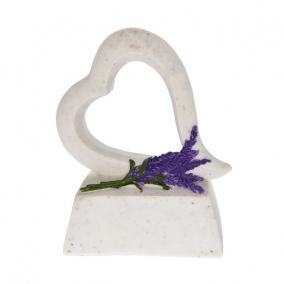 Sírkő, szív, levendulával poly 11x5x12,3 cm fehér