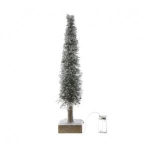Stilizált fenyő Led világítással növényi rost 40cm havas