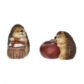 Sün almával, kosárral kerámia 11,5 cm x 7 cm x 10 cm barna 2 féle