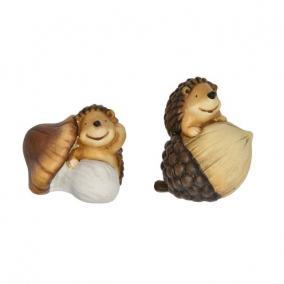 Sün gombával, makkal kerámia 12,5 cm x 10,5 cm x 13,5 cm barna 2 féle