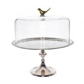 Sütemény tartó üveg búrával, madárral, fém 45 cm x 33 cm ezüst