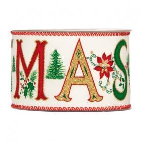 Szalag Merry Christmas felirattal textil 63mm x 10m bézs, piros