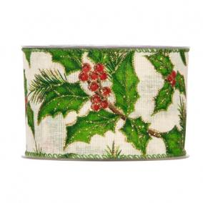 Szalag fagyönggyel textil 63mm x 10m fehér,zöld