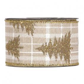 Szalag fenyőfával textil 63mm x 10m bézs,arany