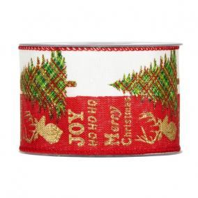 Szalag fenyővel, szarvassal textil 63mm x 10m piros,arany