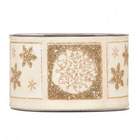 Szalag hópihével glitteres textil 63mm x 10m krém, arany