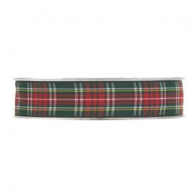 Szalag kockás textil 12mm x 20m piros,zöld