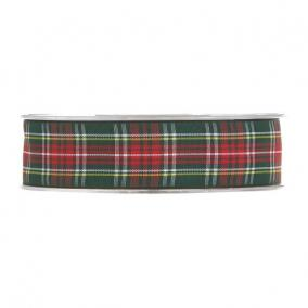 Szalag kockás textil 25mm x 20m piros,zöld