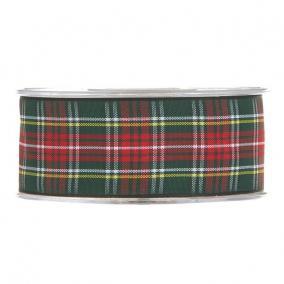Szalag kockás textil 38mm x 20m piros,zöld