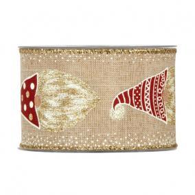 Szalag manóval textil 63mm x 10m bézs, arany