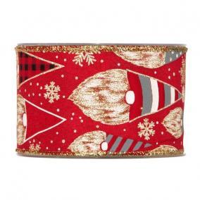 Szalag manóval textil 63mm x 10m piros, arany