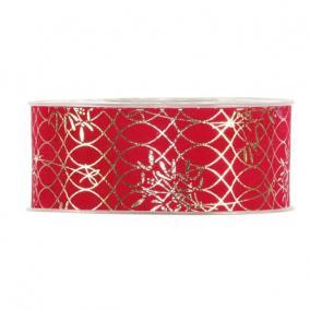 Szalag mintás bársony 40mm x 10m piros,arany