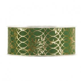 Szalag mintás bársony 40mm x 10m zöld,arany