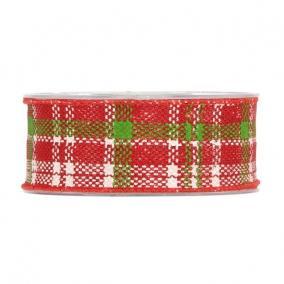 Szalag kockás textil 40mm x 5m piros,zöld