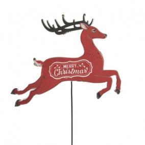 Szarvas Merry Christmas felirattal betűzős bádog 32 cm x 26 cm x 66 cm piros