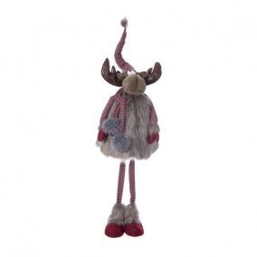 Szarvas sállal rugós álló textil 56 cm x 48 cm x 160 cm piros, barna