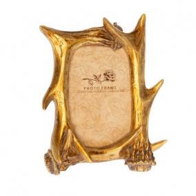 Szarvasagancs mintázatú képkeret poly 21,8cm x26,3cm x4 cm arany