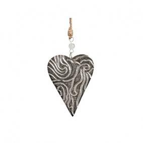 Szív akasztós alumínium 6,5cm x 9cm ezüst