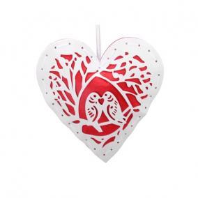 Szív akasztós textil 20x20cm piros, fehér