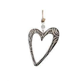 Szív üreges akasztós alumínium 13cm x 18cm ezüst
