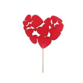 Szívek betűzős polyfoam 10x9cm piros [12 db]