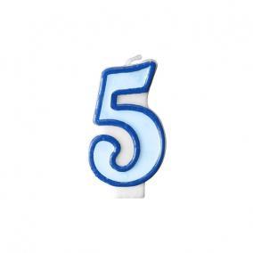 Szülinapi számgyertya 6,5cm kék 5