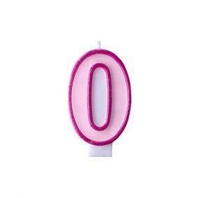Szülinapi számgyertya 6,5cm rózsaszín 0