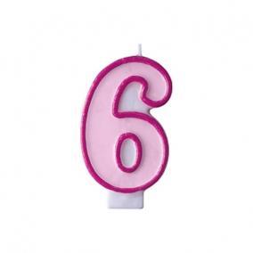 Szülinapi számgyertya 6,5cm rózsaszín 6