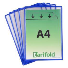 Információs tasak, A4, acélkeretes, álló, TARIFOLD, kék [5 db]