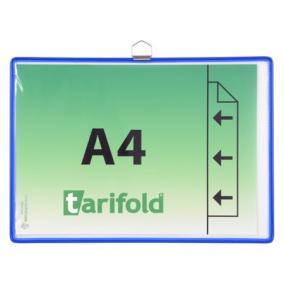 Bemutatótábla, függő, A4,  fekvő, fém fülecskével, TARIFOLD, kék [5 db]