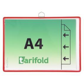 Bemutatótábla, függő, A4,  fekvő, fém fülecskével, TARIFOLD, piros [5 db]
