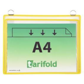 Bemutatótábla, függő, A4, redővel, fekvő, fém fülecskével, TARIFOLD sárga [5 db]