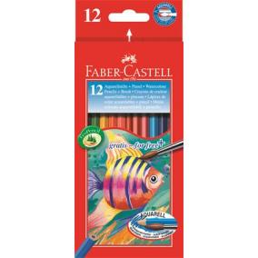 Aquarell színes ceruza készlet, hatszögletű, ecsettel, FABER-CASTELL, 12 különböző szín [13 db]