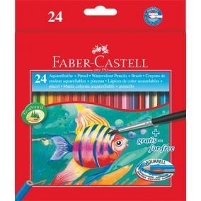 Aquarell színes ceruza készlet, hatszögletű, ecsettel, FABER-CASTELL, 24 különböző szín [25 db]