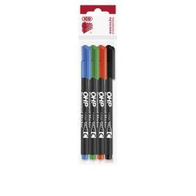 Alkoholos marker készlet, OHP, 1-4 mm, C, ICO, 4 különböző szín [4 db]