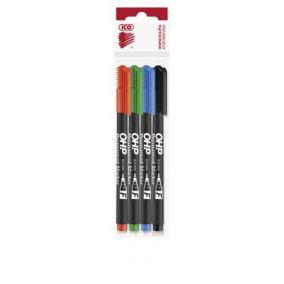 Alkoholos marker készlet, OHP, 0,5 mm, F, ICO, 4 különböző szín [4 db]