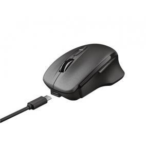 Egér, vezeték nélküli, optikai, tölthető, USB, TRUST