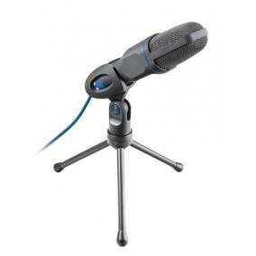 Mikrofon, asztali, USB, 3,5 mm jack, TRUST