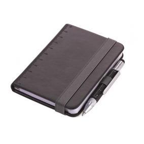Jegyzetfüzet, exkluzív, A7, pontrácsos, 128 lap, keményfedeles, fekete golyóstollal, TROIKA