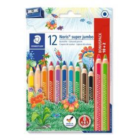 Színes ceruza készlet, háromszögletű, vastag, hegyezővel, STAEDTLER