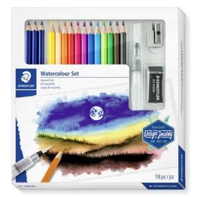 Akvarell ceruza készlet, ecsettel, radírral, hegyezővel, grafitceruzával, STAEDTLER