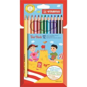 Színes ceruza készlet, háromszögletű, vastag, STABILO