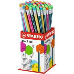 Grafitceruza radírral display, HB, hatszögletű, STABILO